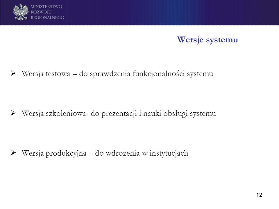 12 Wersje systemu Wersja testowa – do sprawdzenia funkcjonalności systemu Wersja szkoleniowa- do prezentacji i nauki obsługi systemu Wersja produkcyjn