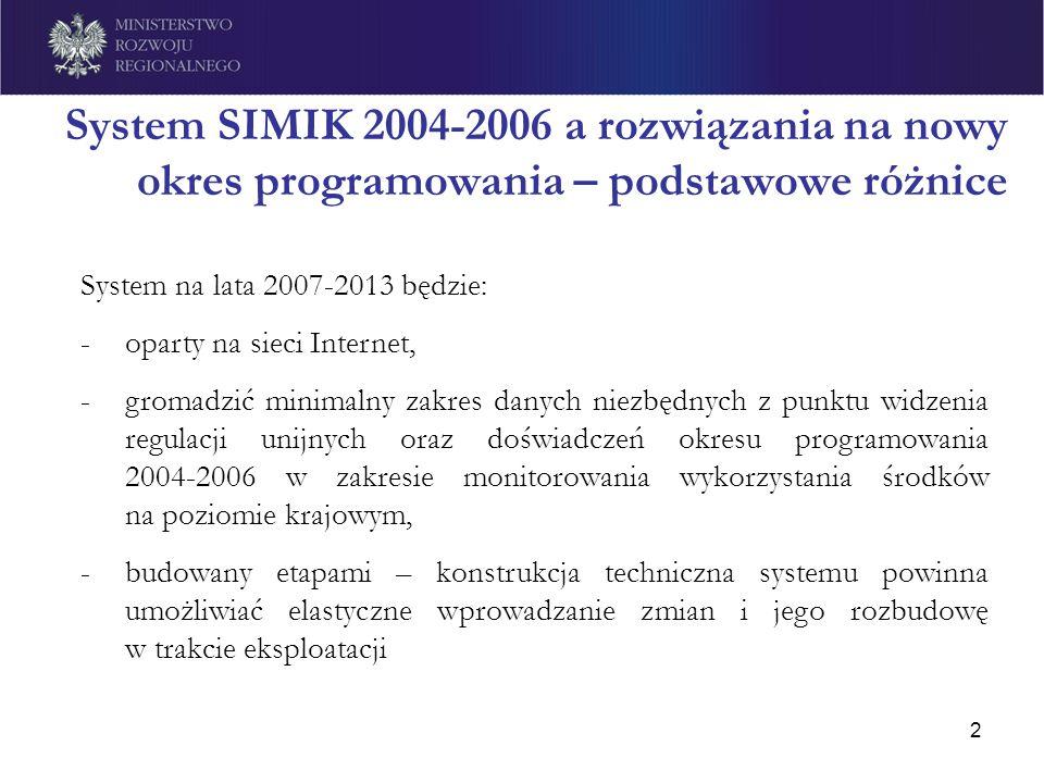 2 System SIMIK 2004-2006 a rozwiązania na nowy okres programowania – podstawowe różnice System na lata 2007-2013 będzie: -oparty na sieci Internet, -g