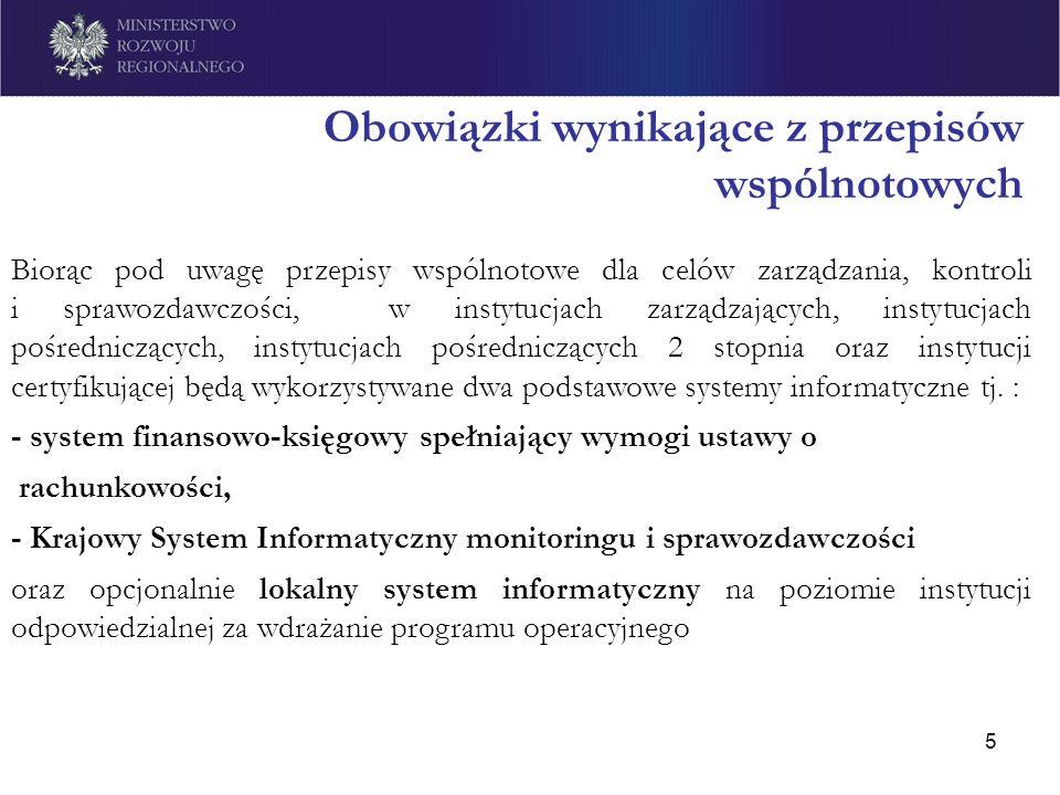 5 Obowiązki wynikające z przepisów wspólnotowych Biorąc pod uwagę przepisy wspólnotowe dla celów zarządzania, kontroli i sprawozdawczości, w instytucj