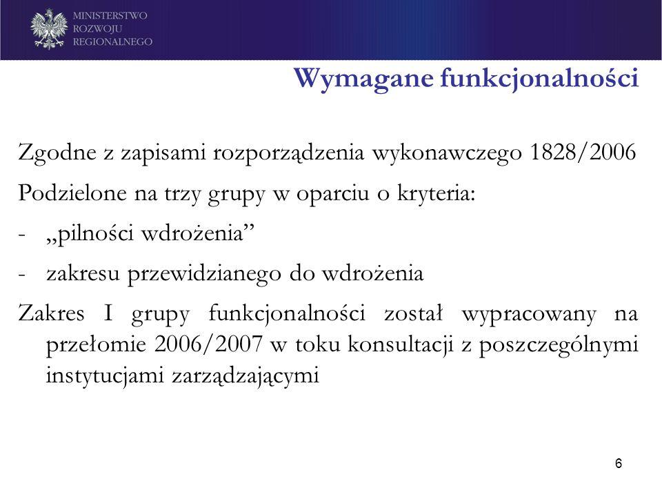 6 Wymagane funkcjonalności Zgodne z zapisami rozporządzenia wykonawczego 1828/2006 Podzielone na trzy grupy w oparciu o kryteria: -pilności wdrożenia