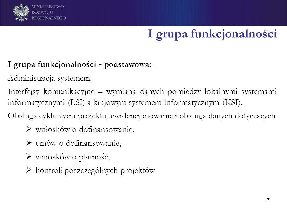 7 I grupa funkcjonalności I grupa funkcjonalności - podstawowa: Administracja systemem, Interfejsy komunikacyjne – wymiana danych pomiędzy lokalnymi s