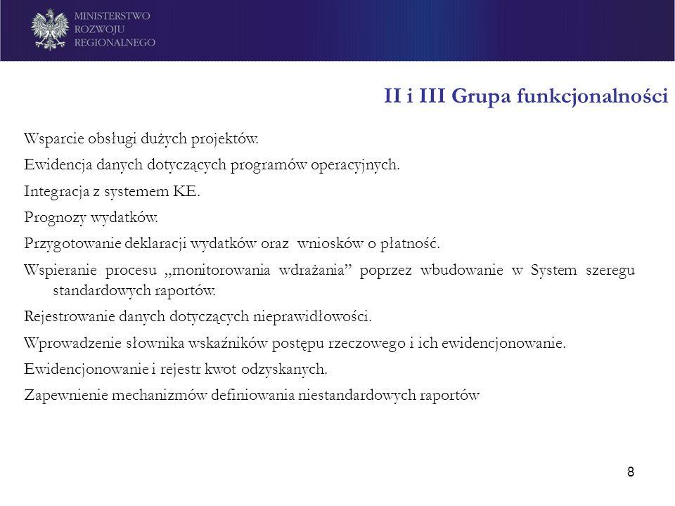 8 II i III Grupa funkcjonalności Wsparcie obsługi dużych projektów. Ewidencja danych dotyczących programów operacyjnych. Integracja z systemem KE. Pro