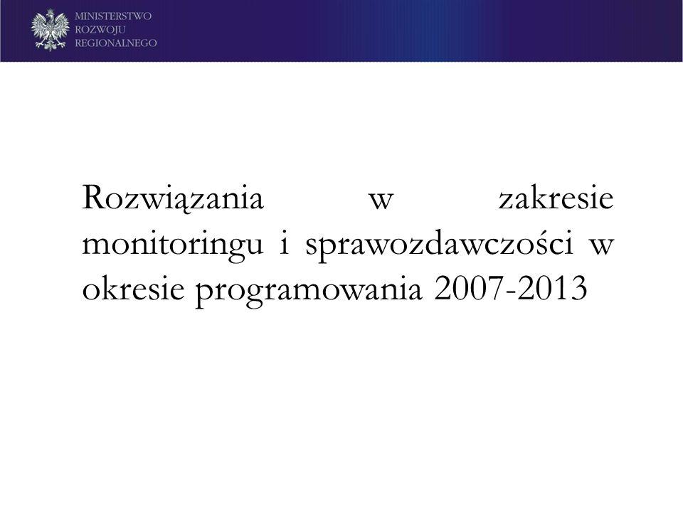 Rozwiązania w zakresie monitoringu i sprawozdawczości w okresie programowania 2007-2013