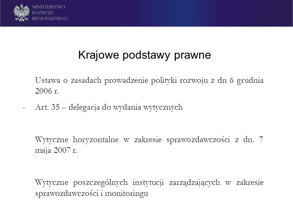 Krajowe podstawy prawne Ustawa o zasadach prowadzenie polityki rozwoju z dn 6 grudnia 2006 r. -Art. 35 – delegacja do wydania wytycznych Wytyczne hory