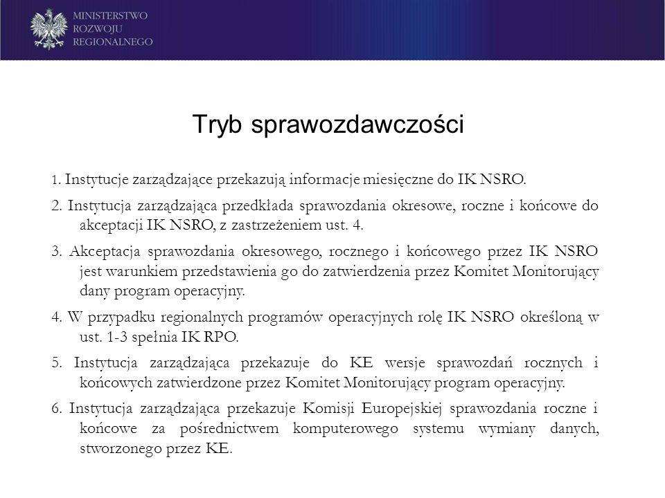 Tryb sprawozdawczości 1. Instytucje zarządzające przekazują informacje miesięczne do IK NSRO. 2. Instytucja zarządzająca przedkłada sprawozdania okres