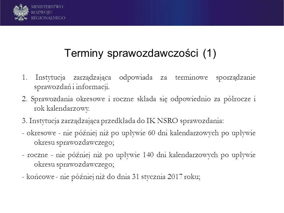 Terminy sprawozdawczości (1) 1. Instytucja zarządzająca odpowiada za terminowe sporządzanie sprawozdań i informacji. 2. Sprawozdania okresowe i roczne