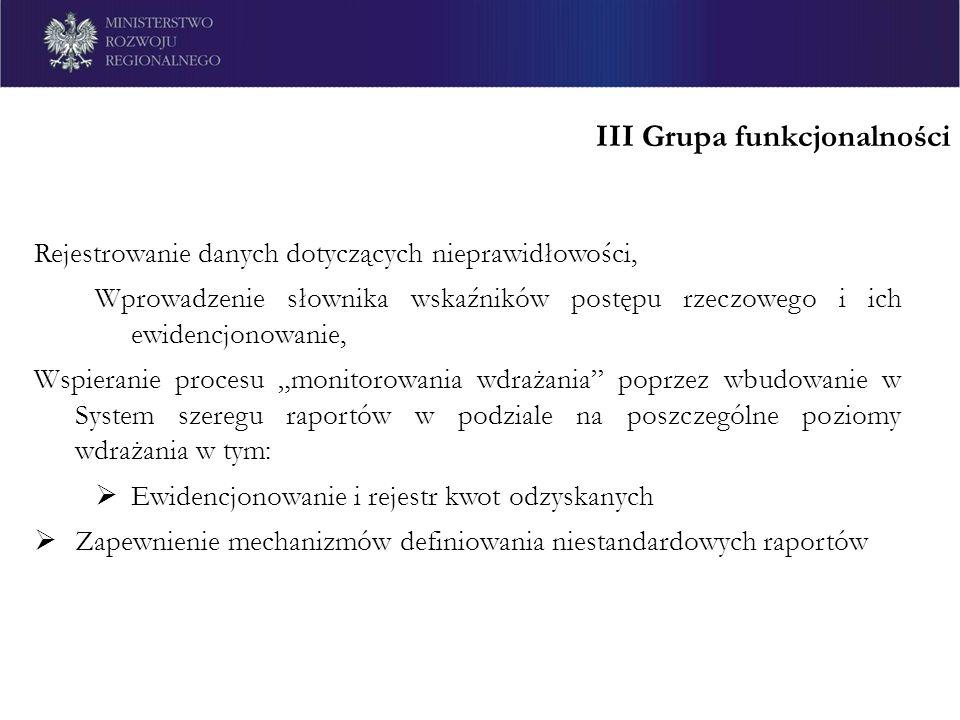III Grupa funkcjonalności Rejestrowanie danych dotyczących nieprawidłowości, Wprowadzenie słownika wskaźników postępu rzeczowego i ich ewidencjonowani