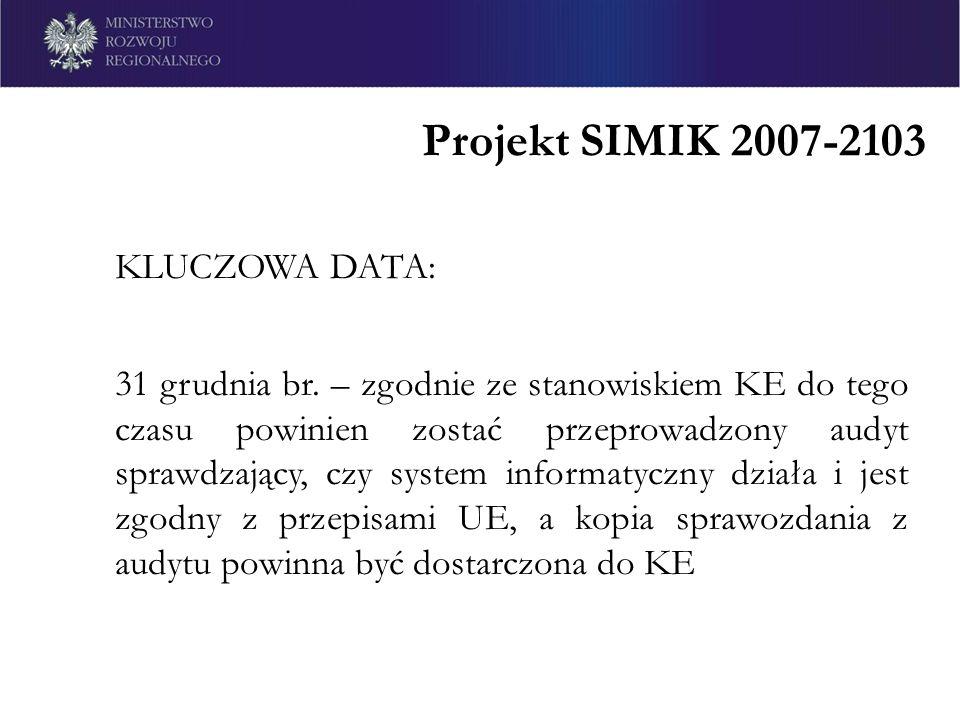 Projekt SIMIK 2007-2103 KLUCZOWA DATA: 31 grudnia br. – zgodnie ze stanowiskiem KE do tego czasu powinien zostać przeprowadzony audyt sprawdzający, cz
