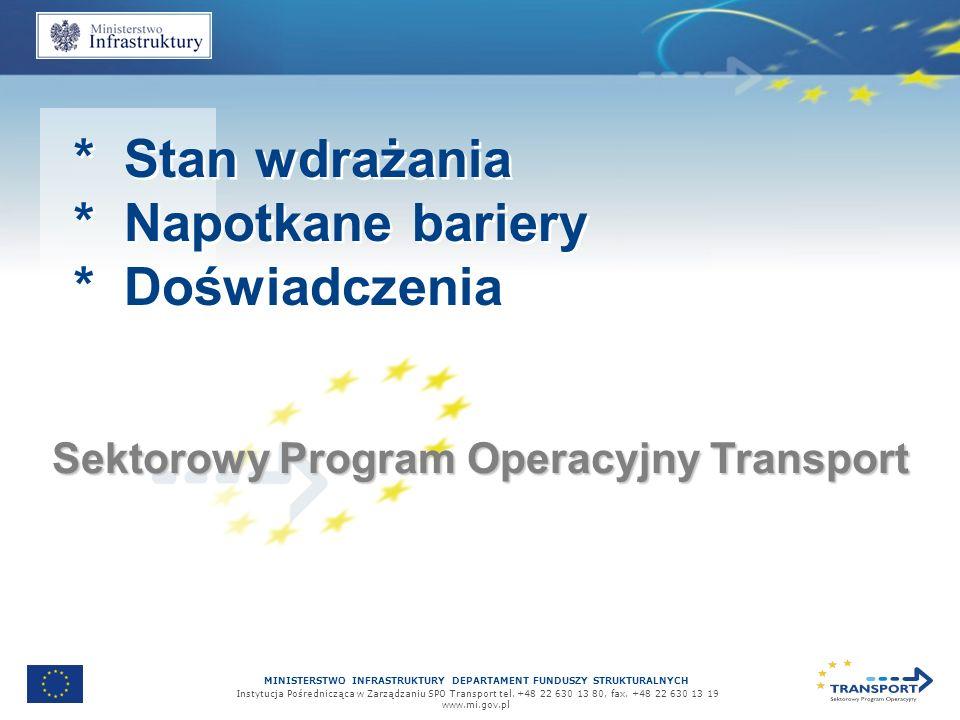 MINISTERSTWO INFRASTRUKTURY DEPARTAMENT FUNDUSZY STRUKTURALNYCH Instytucja Pośrednicząca w Zarządzaniu SPO Transport tel.