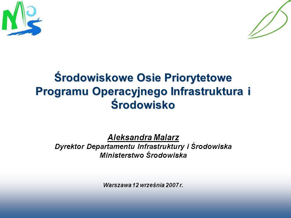 Środowiskowe Osie Priorytetowe Programu Operacyjnego Infrastruktura i Środowisko Środowiskowe Osie Priorytetowe Programu Operacyjnego Infrastruktura i Środowisko I.Gospodarka wodno - ściekowa – (FS) II.Gospodarka odpadami i ochrona powierzchni ziemi – (FS) III.Zarządzanie zasobami i przeciwdziałanie zagrożeniom środowiska - (FS) IV.Przedsięwzięcia dostosowujące przedsiębiorstwa do wymogów ochrony środowiska – (EFRR) V.Ochrona przyrody i kształtowanie postaw ekologicznych – (EFRR) IX.Infrastruktura energetyczna przyjazna środowisku – (FS)