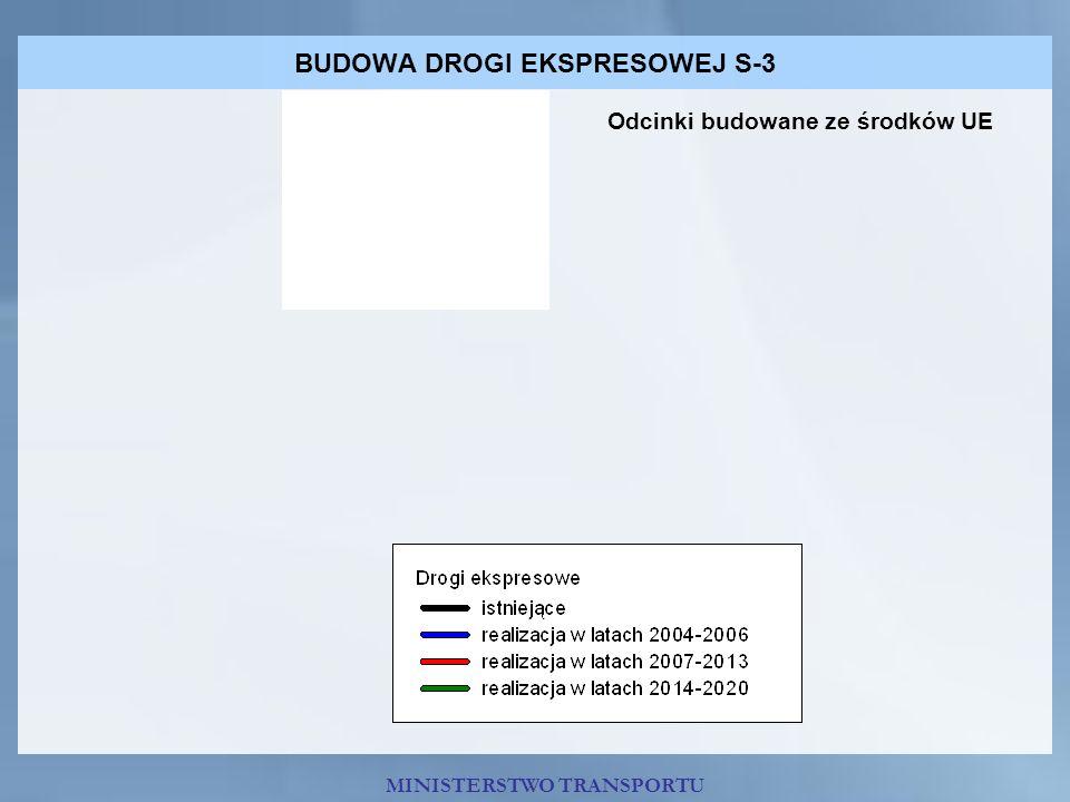 BUDOWA DROGI EKSPRESOWEJ S-3 MINISTERSTWO TRANSPORTU Odcinki budowane ze środków UE