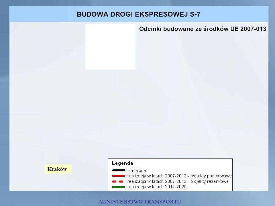 BUDOWA DROGI EKSPRESOWEJ S-7 MINISTERSTWO TRANSPORTU Odcinki budowane ze środków UE 2007-013 Kraków