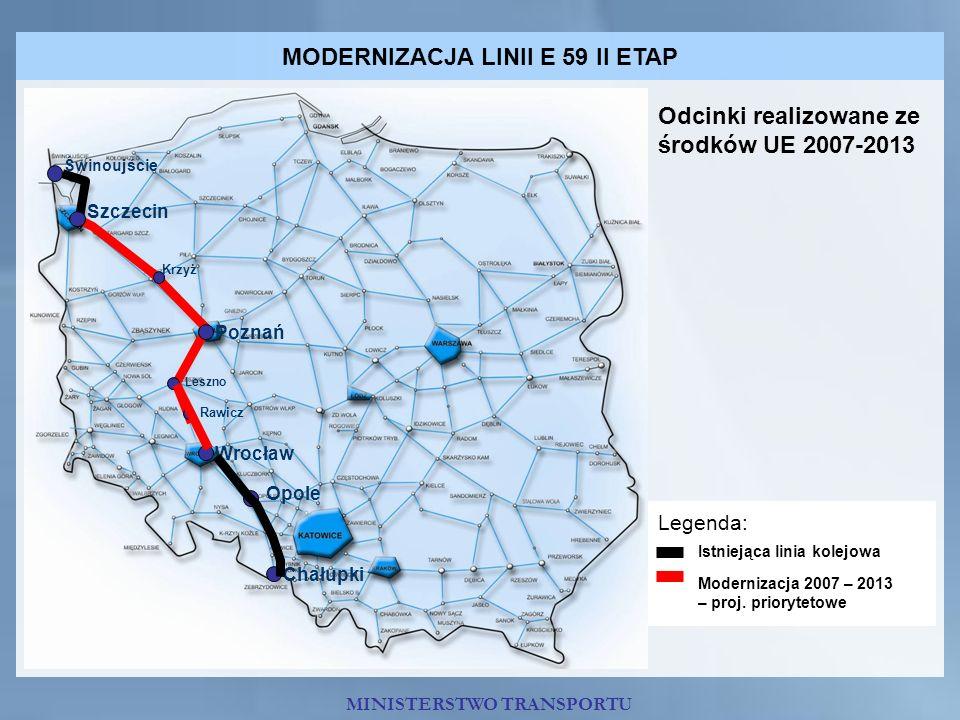 MODERNIZACJA LINII E 59 II ETAP Świnoujście Szczecin Poznań Wrocław Opole Chałupki Krzyż Leszno Rawicz Odcinki realizowane ze środków UE 2007-2013 Leg