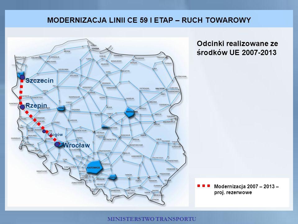 MODERNIZACJA LINII CE 59 I ETAP – RUCH TOWAROWY Odcinki realizowane ze środków UE 2007-2013 Modernizacja 2007 – 2013 – proj. rezerwowe Szczecin Rzepin