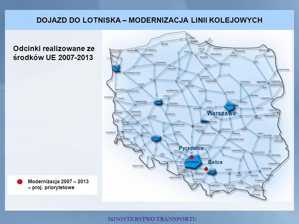 DOJAZD DO LOTNISKA – MODERNIZACJA LINII KOLEJOWYCH Warszawa Balice Pyrzowice Odcinki realizowane ze środków UE 2007-2013 Modernizacja 2007 – 2013 – pr