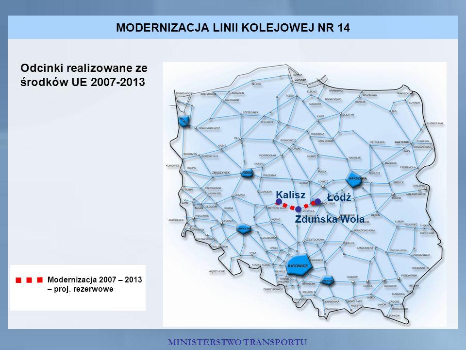 MODERNIZACJA LINII KOLEJOWEJ NR 14 Odcinki realizowane ze środków UE 2007-2013 Modernizacja 2007 – 2013 – proj. rezerwowe MINISTERSTWO TRANSPORTU Łódź