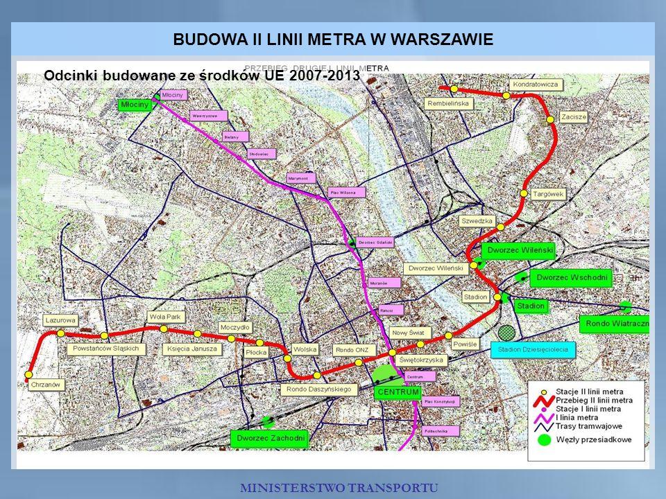 BUDOWA II LINII METRA W WARSZAWIE Odcinki budowane ze środków UE 2007-2013 MINISTERSTWO TRANSPORTU
