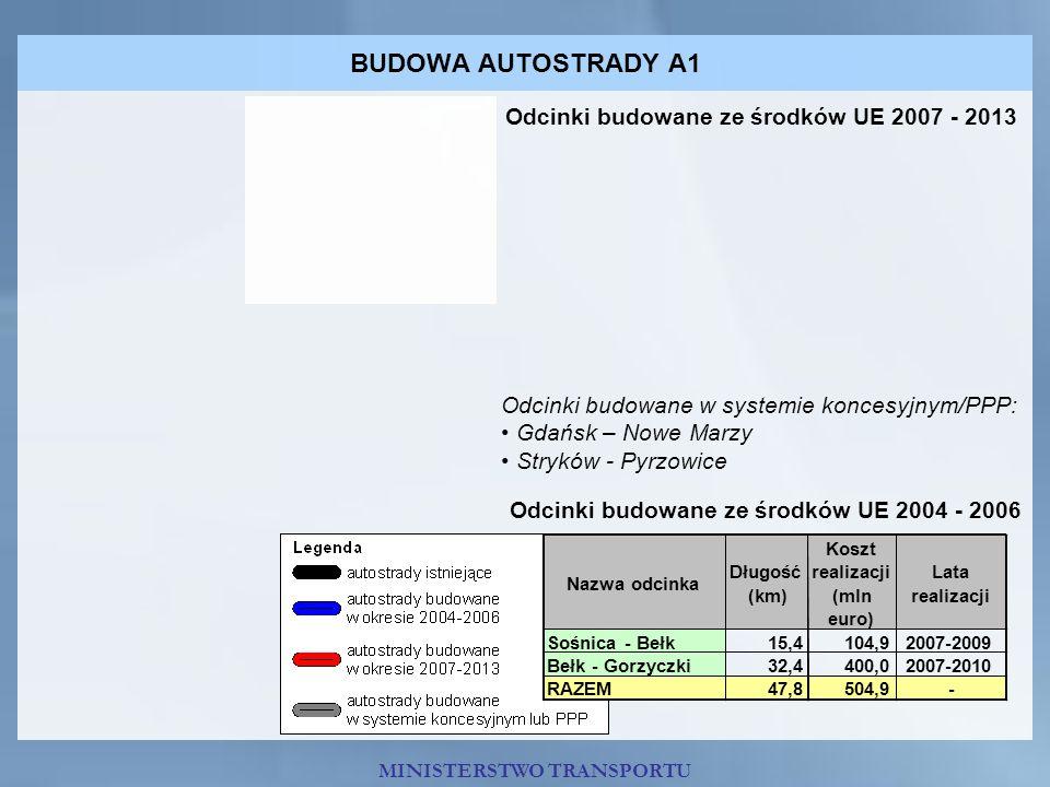 BUDOWA AUTOSTRADY A1 Odcinki budowane ze środków UE 2007 - 2013 Odcinki budowane w systemie koncesyjnym/PPP: Gdańsk – Nowe Marzy Stryków - Pyrzowice O