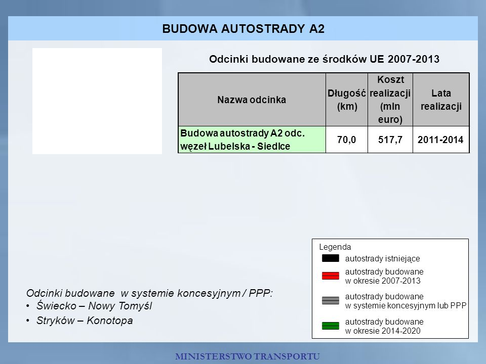 MINISTERSTWO TRANSPORTU BUDOWA AUTOSTRADY A2 Odcinki budowane ze środków UE 2007-2013 Odcinki budowane w systemie koncesyjnym / PPP: Świecko – Nowy To