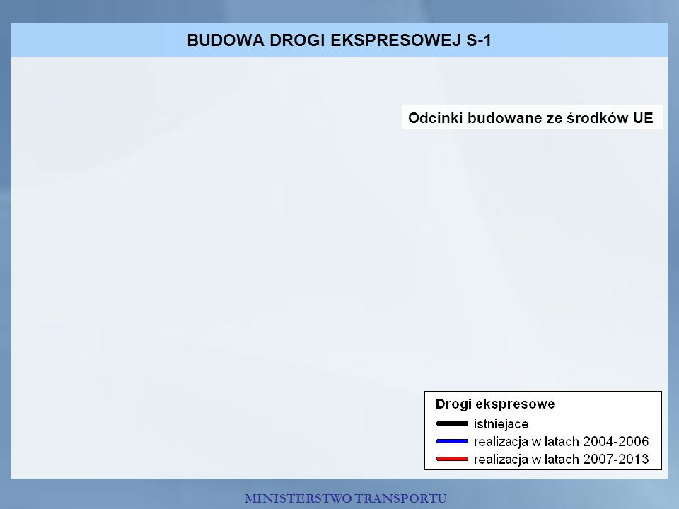 BUDOWA DROGI EKSPRESOWEJ S-1 Odcinki budowane ze środków UE MINISTERSTWO TRANSPORTU