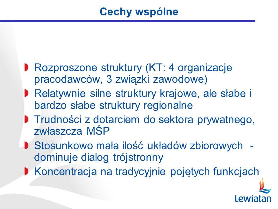 Cechy wspólne Rozproszone struktury (KT: 4 organizacje pracodawców, 3 związki zawodowe) Relatywnie silne struktury krajowe, ale słabe i bardzo słabe s