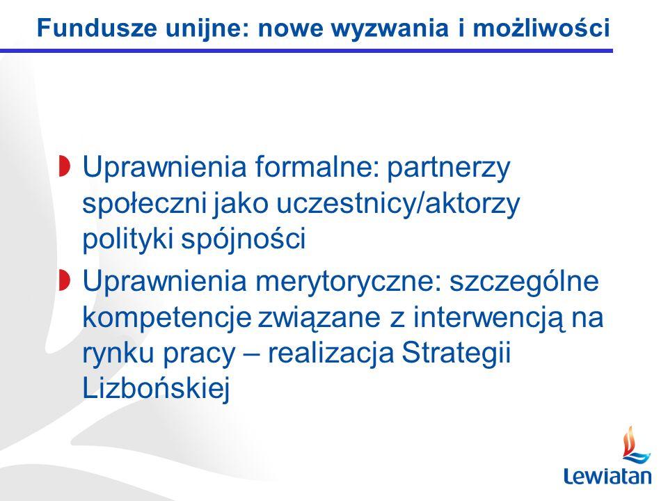 Uprawnienia formalne: partnerzy społeczni jako uczestnicy/aktorzy polityki spójności Uprawnienia merytoryczne: szczególne kompetencje związane z interwencją na rynku pracy – realizacja Strategii Lizbońskiej Fundusze unijne: nowe wyzwania i możliwości