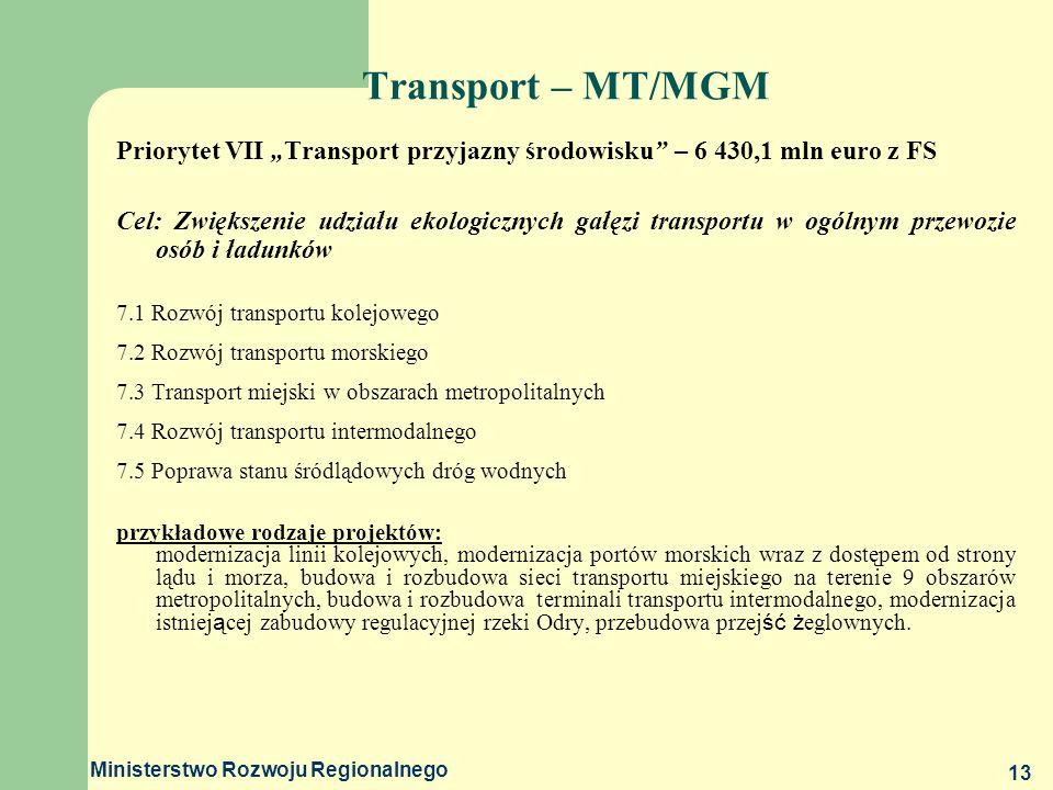 Ministerstwo Rozwoju Regionalnego 13 Transport – MT/MGM Priorytet VII Transport przyjazny środowisku – 6 430,1 mln euro z FS Cel: Zwiększenie udziału