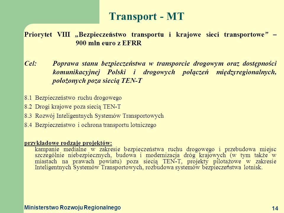 Ministerstwo Rozwoju Regionalnego 14 Transport - MT Priorytet VIII Bezpieczeństwo transportu i krajowe sieci transportowe – 900 mln euro z EFRR Cel:Po