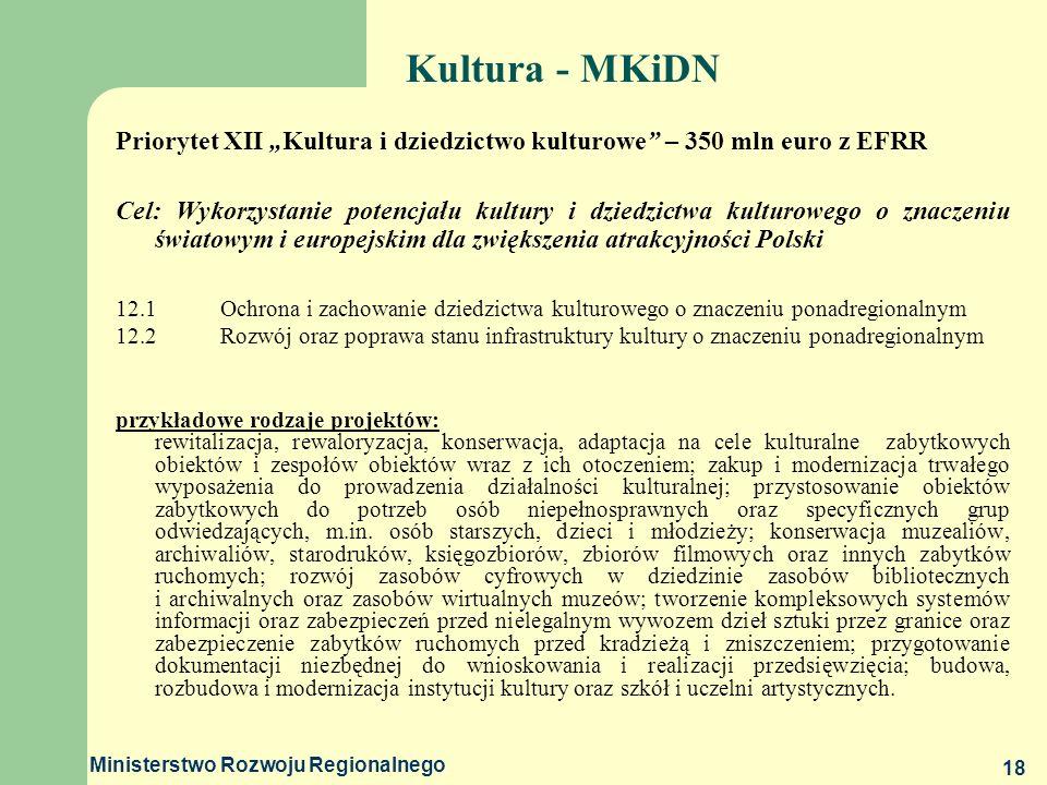 Ministerstwo Rozwoju Regionalnego 18 Kultura - MKiDN Priorytet XII Kultura i dziedzictwo kulturowe – 350 mln euro z EFRR Cel: Wykorzystanie potencjału