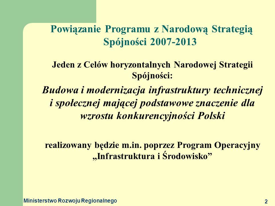 Ministerstwo Rozwoju Regionalnego 3 Podniesienie atrakcyjności inwestycyjnej Polski i jej regionów poprzez rozwój infrastruktury technicznej przy równoczesnej ochronie i poprawie stanu środowiska, zdrowia, zachowaniu tożsamości kulturowej i rozwijaniu spójności terytorialnej GŁÓWNY CEL Programu Operacyjnego Infrastruktura i Środowisko