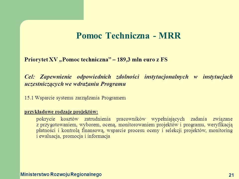 Ministerstwo Rozwoju Regionalnego 21 Pomoc Techniczna - MRR Priorytet XV Pomoc techniczna – 189,3 mln euro z FS Cel: Zapewnienie odpowiednich zdolnośc