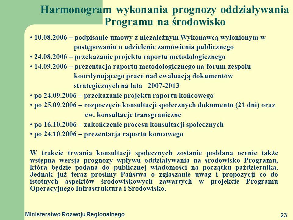 Ministerstwo Rozwoju Regionalnego 23 Harmonogram wykonania prognozy oddziaływania Programu na środowisko 10.08.2006 – podpisanie umowy z niezależnym W