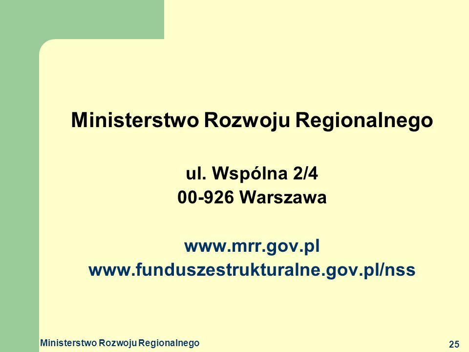 Ministerstwo Rozwoju Regionalnego 25 Ministerstwo Rozwoju Regionalnego ul. Wspólna 2/4 00-926 Warszawa www.mrr.gov.pl www.funduszestrukturalne.gov.pl/