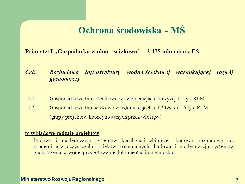 Ministerstwo Rozwoju Regionalnego 7 Ochrona środowiska - MŚ Priorytet I Gospodarka wodno - ściekowa - 2 475 mln euro z FS Cel: Rozbudowa infrastruktur
