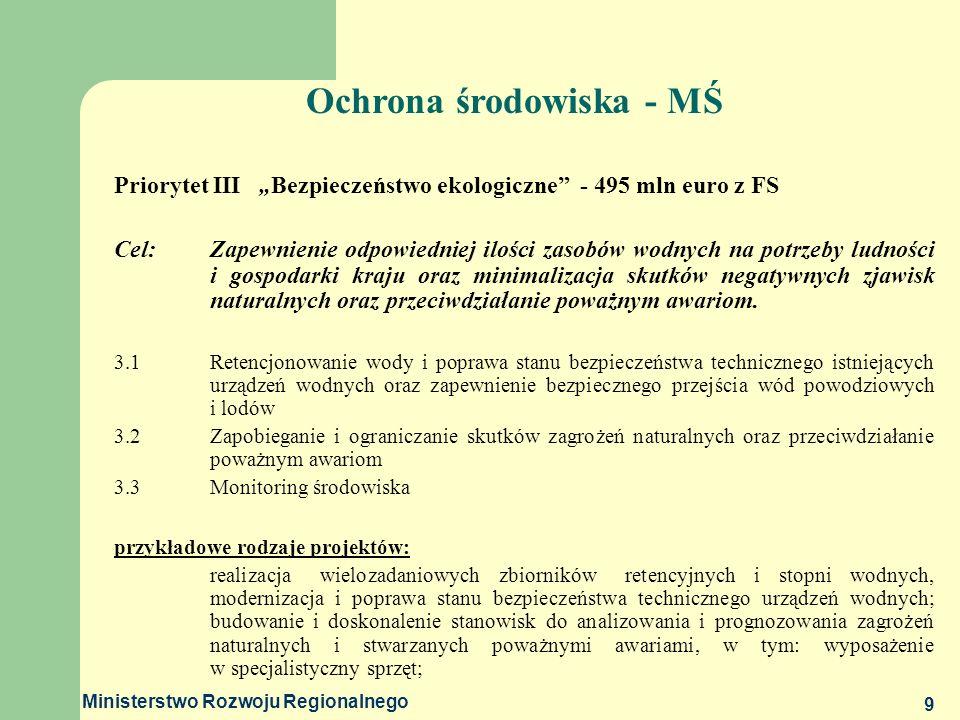 Ministerstwo Rozwoju Regionalnego 9 Priorytet III Bezpieczeństwo ekologiczne - 495 mln euro z FS Cel: Zapewnienie odpowiedniej ilości zasobów wodnych
