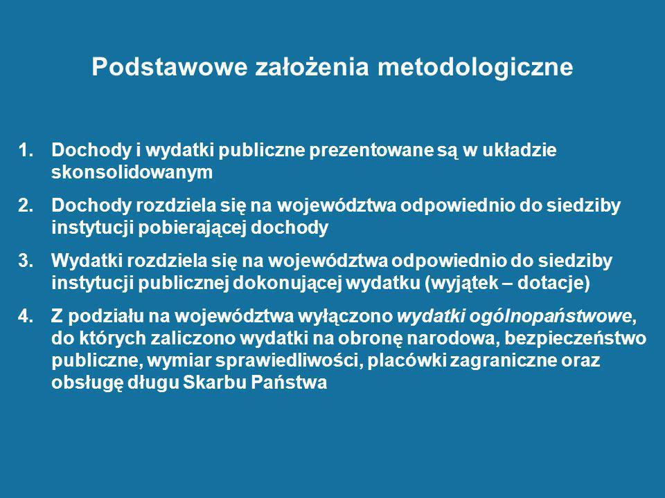 Podstawowe założenia metodologiczne 1.Dochody i wydatki publiczne prezentowane są w układzie skonsolidowanym 2.Dochody rozdziela się na województwa od