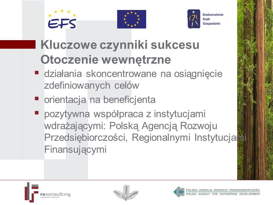 Kluczowe czynniki sukcesu Otoczenie wewnętrzne działania skoncentrowane na osiągnięcie zdefiniowanych celów orientacja na beneficjenta pozytywna współpraca z instytucjami wdrażającymi: Polską Agencją Rozwoju Przedsiębiorczości, Regionalnymi Instytucjami Finansującymi