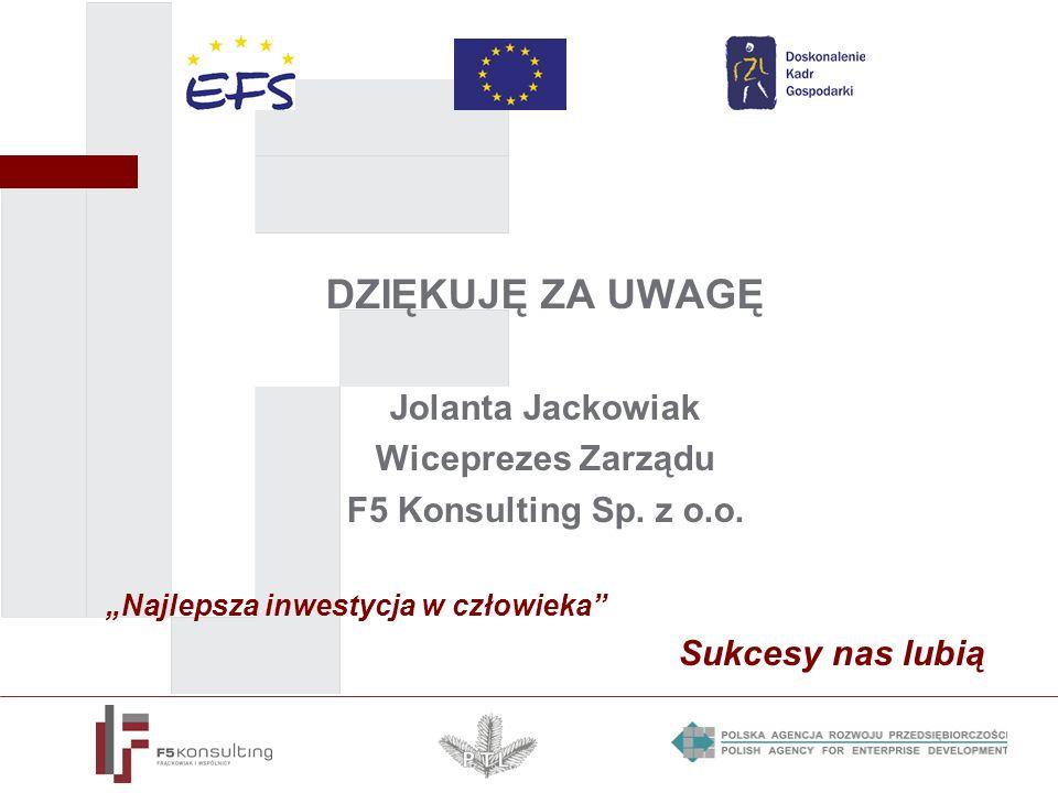 DZIĘKUJĘ ZA UWAGĘ Jolanta Jackowiak Wiceprezes Zarządu F5 Konsulting Sp. z o.o. Najlepsza inwestycja w człowieka Sukcesy nas lubią