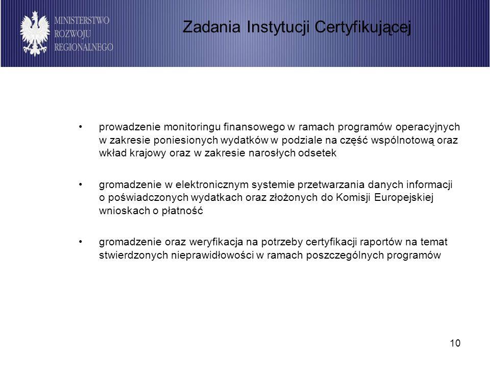 10 prowadzenie monitoringu finansowego w ramach programów operacyjnych w zakresie poniesionych wydatków w podziale na część wspólnotową oraz wkład krajowy oraz w zakresie narosłych odsetek gromadzenie w elektronicznym systemie przetwarzania danych informacji o poświadczonych wydatkach oraz złożonych do Komisji Europejskiej wnioskach o płatność gromadzenie oraz weryfikacja na potrzeby certyfikacji raportów na temat stwierdzonych nieprawidłowości w ramach poszczególnych programów Zadania Instytucji Certyfikującej