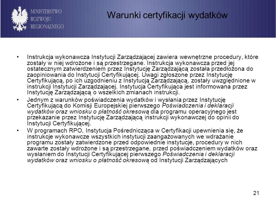 21 Instrukcja wykonawcza Instytucji Zarządzającej zawiera wewnętrzne procedury, które zostały w niej wdrożone i są przestrzegane. Instrukcja wykonawcz