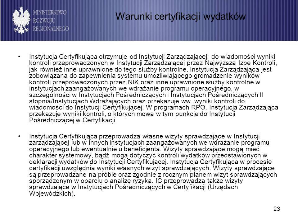 23 Instytucja Certyfikująca otrzymuje od Instytucji Zarządzającej, do wiadomości wyniki kontroli przeprowadzonych w Instytucji Zarządzającej przez Naj