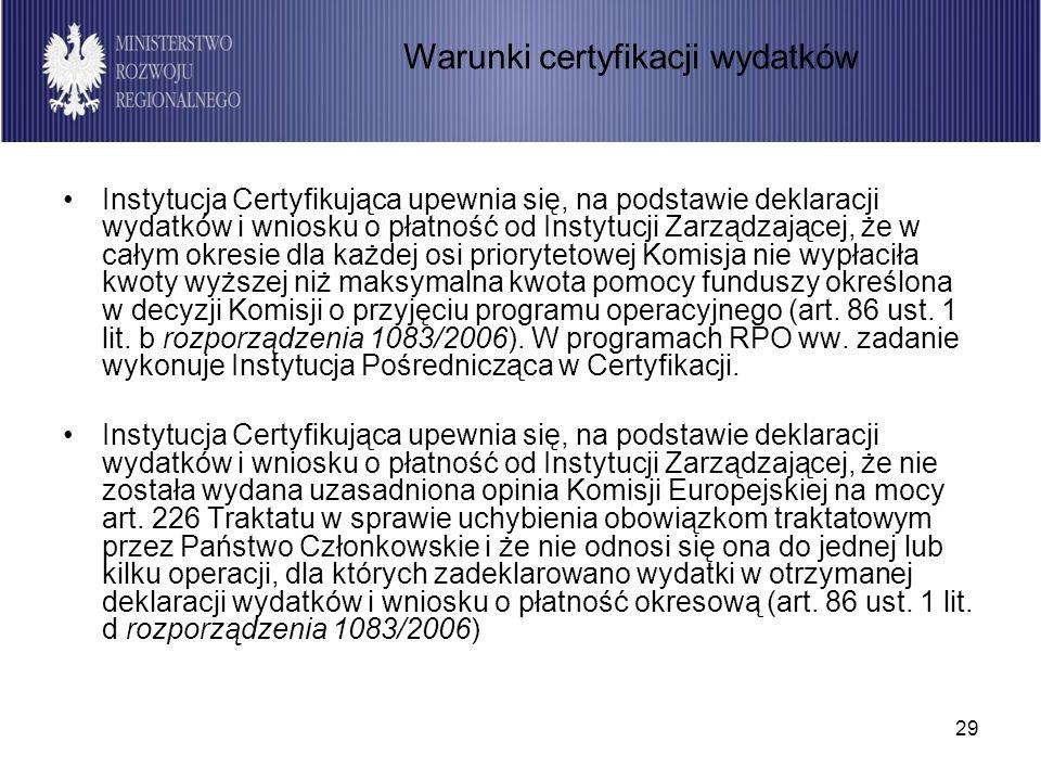 29 Instytucja Certyfikująca upewnia się, na podstawie deklaracji wydatków i wniosku o płatność od Instytucji Zarządzającej, że w całym okresie dla każ