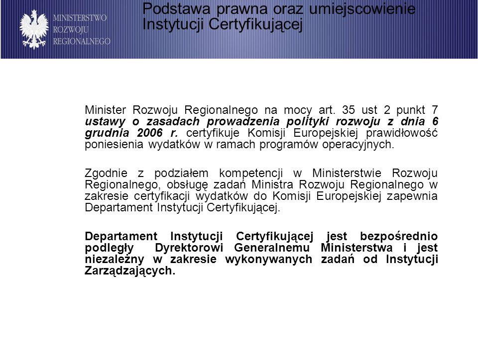 44 Procedura blokowania certyfikacji oraz zdejmowania blokady jest następująca: Po ostatecznym stwierdzeniu wystąpienia przesłanek do wstrzymania certyfikacji w danym programie lub priorytecie (poprzedzonym działaniami mającymi na celu ustalenie stanu faktycznego oraz poinformowaniu Instytucji Zarządzającej zgodnie z punktem 2.2), Instytucja Certyfikująca przekazuje informację na temat stwierdzonych okoliczności do Członka Kierownictwa MRR bezpośrednio nadzorującego Departament Instytucji Certyfikującej w formie notatki służbowej od Dyrektora Departamentu Instytucji Certyfikującej.