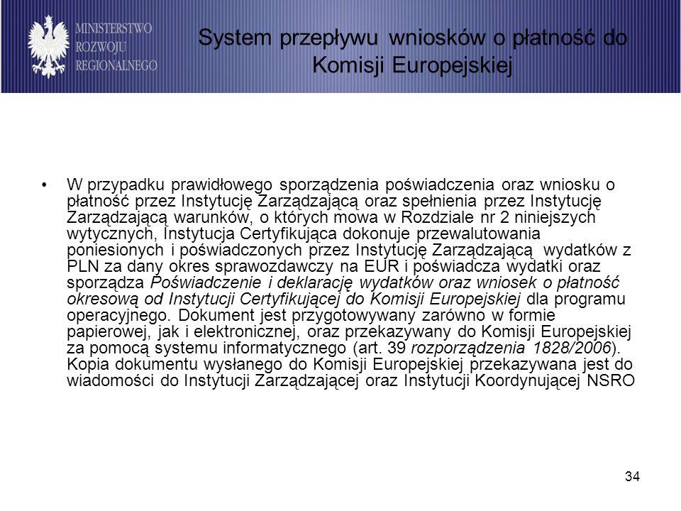 34 W przypadku prawidłowego sporządzenia poświadczenia oraz wniosku o płatność przez Instytucję Zarządzającą oraz spełnienia przez Instytucję Zarządzającą warunków, o których mowa w Rozdziale nr 2 niniejszych wytycznych, Instytucja Certyfikująca dokonuje przewalutowania poniesionych i poświadczonych przez Instytucję Zarządzającą wydatków z PLN za dany okres sprawozdawczy na EUR i poświadcza wydatki oraz sporządza Poświadczenie i deklarację wydatków oraz wniosek o płatność okresową od Instytucji Certyfikującej do Komisji Europejskiej dla programu operacyjnego.