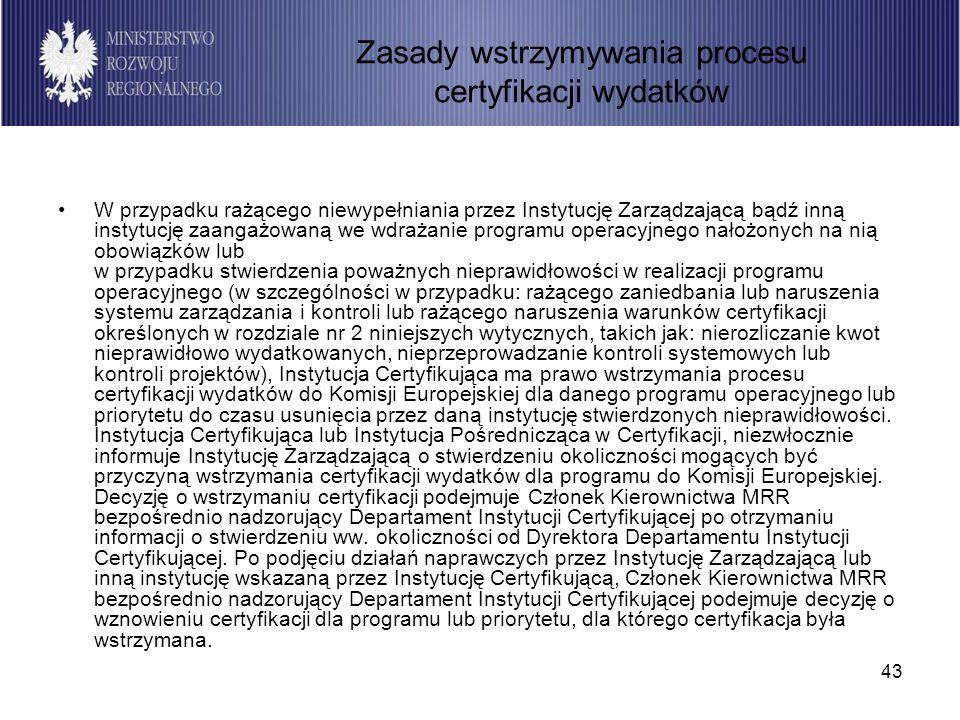 43 W przypadku rażącego niewypełniania przez Instytucję Zarządzającą bądź inną instytucję zaangażowaną we wdrażanie programu operacyjnego nałożonych n