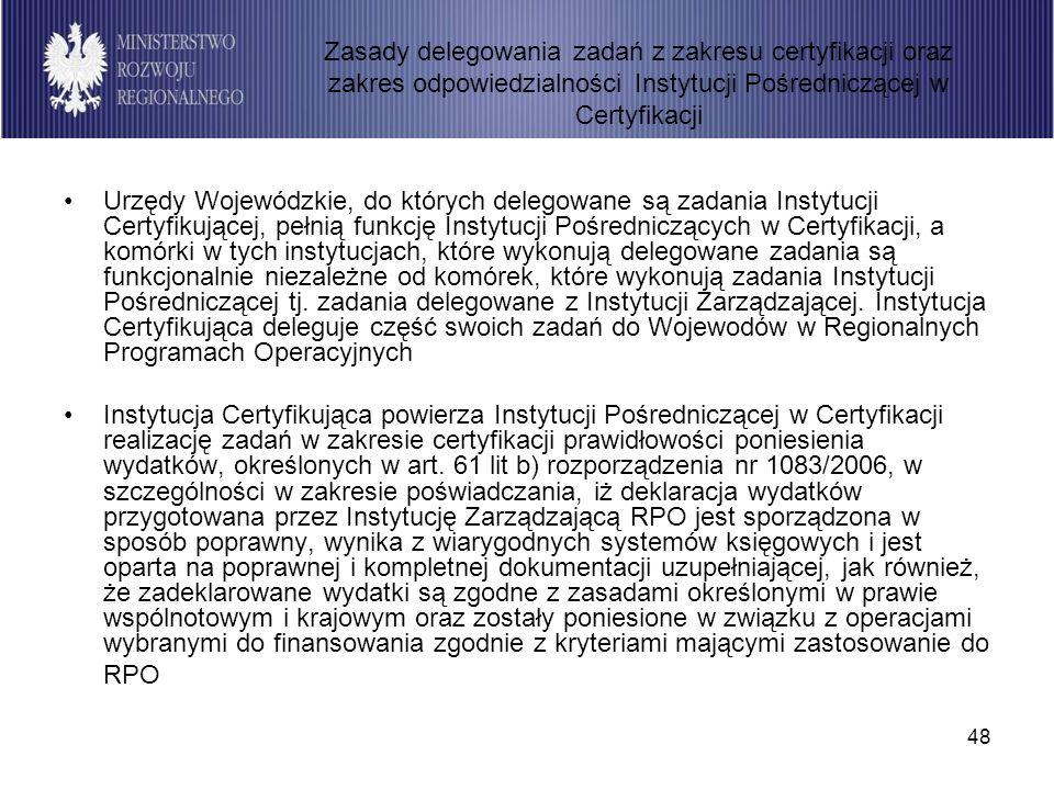 48 Urzędy Wojewódzkie, do których delegowane są zadania Instytucji Certyfikującej, pełnią funkcję Instytucji Pośredniczących w Certyfikacji, a komórki