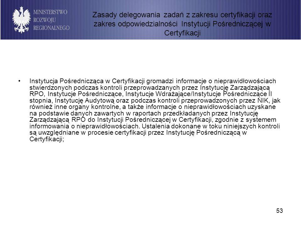 53 Instytucja Pośrednicząca w Certyfikacji gromadzi informacje o nieprawidłowościach stwierdzonych podczas kontroli przeprowadzanych przez Instytucję