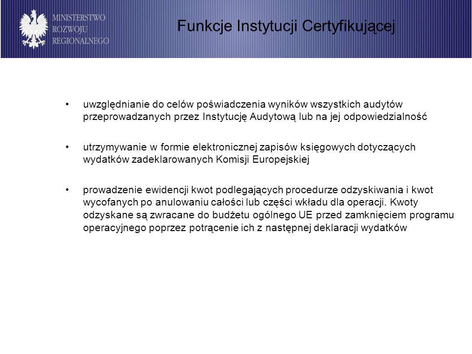 18 Instytucja Certyfikująca dokonuje poświadczenia wydatków w ramach deklaracji wydatków oraz wniosków o płatność dla programu operacyjnego przedkładanych do Komisji Europejskiej, jeżeli zostały spełnione warunki określone w rozdziale 2 Wytycznych w zakresie warunków certyfikacji przez Instytucję Zarządzającą, Instytucje Pośredniczące i Instytucje Pośredniczące II stopnia/Instytucje Wdrażające oraz inne instytucje zaangażowane w realizację programów operacyjnych, a także jeśli sposób realizacji programów operacyjnych i sposób wydatkowania środków na program są zgodne z aktami prawnymi i dokumentami wymienionymi w punkcie 1.3 ww.