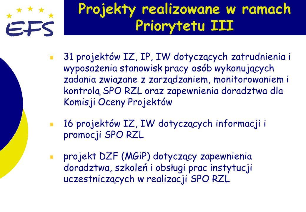 9 Projekty realizowane w ramach Priorytetu III 31 projektów IZ, IP, IW dotyczących zatrudnienia i wyposażenia stanowisk pracy osób wykonujących zadania związane z zarządzaniem, monitorowaniem i kontrolą SPO RZL oraz zapewnienia doradztwa dla Komisji Oceny Projektów 16 projektów IZ, IW dotyczących informacji i promocji SPO RZL projekt DZF (MGiP) dotyczący zapewnienia doradztwa, szkoleń i obsługi prac instytucji uczestniczących w realizacji SPO RZL