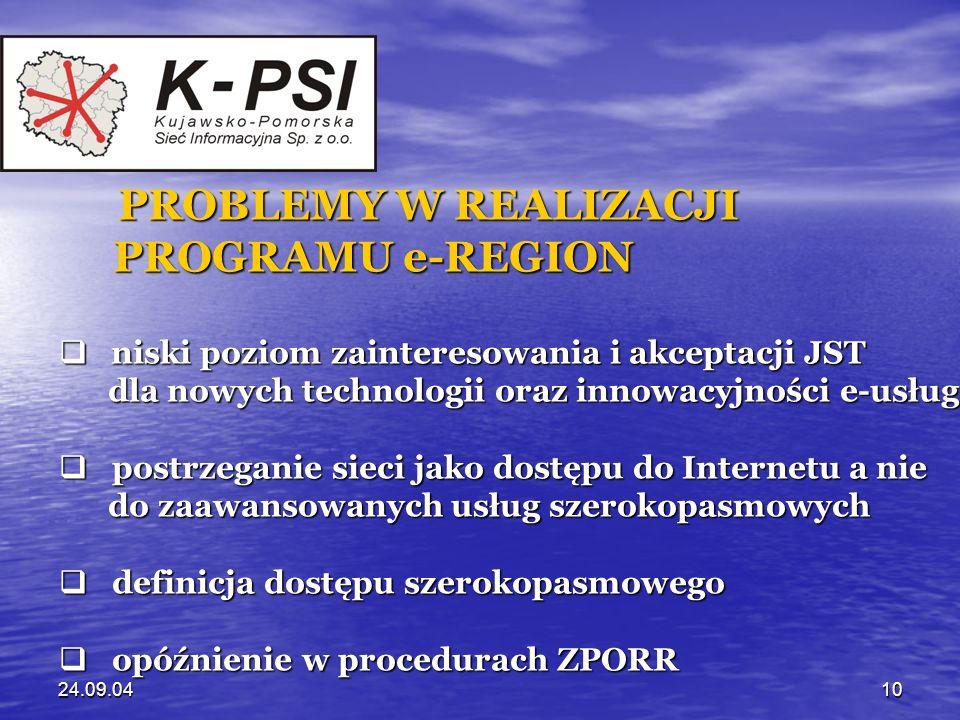 24.09.0410 PROBLEMY W REALIZACJI PROGRAMU e-REGION PROGRAMU e-REGION niski poziom zainteresowania i akceptacji JST niski poziom zainteresowania i akce